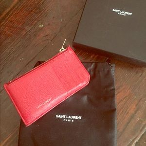 Saint Laurent Card Holder in Red Caviar Leather